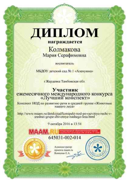 Диплом Колмаковой М.С.